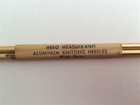 gold knitting needles vintage measure knit aluminum single pointed knitting