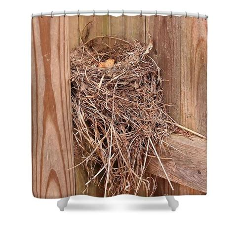 Nature Inspired Shower Curtains An Abandoned Bird Nest On A Wooden Fence Nature Shower Curtain Photography By Susan Nature