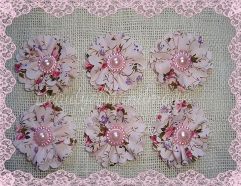 vintage shabby chic fabric flowers 20mm pearl beaded cream