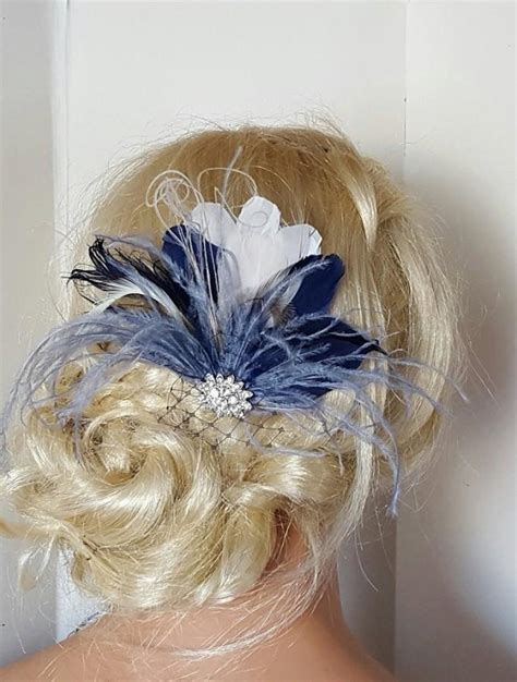 wedding accessories wedding favours bridal accessories navy blue hair fascinator feather accessories great