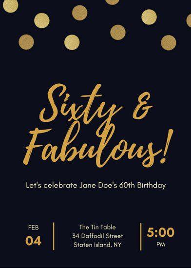Black And Gold Polka Dot 60th Birthday Invitation Templates By Canva Gold Birthday Invitation Template