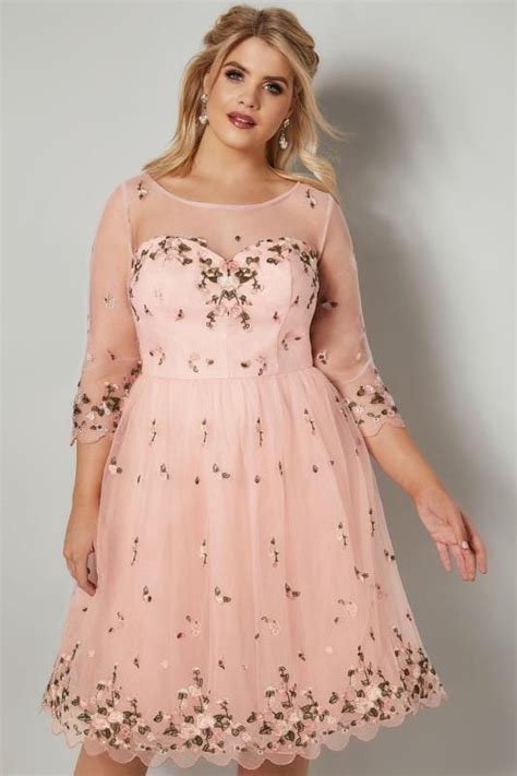 chi chi london witte jurk chi chi vintage roze mesh jurk voorzien van geborduurde