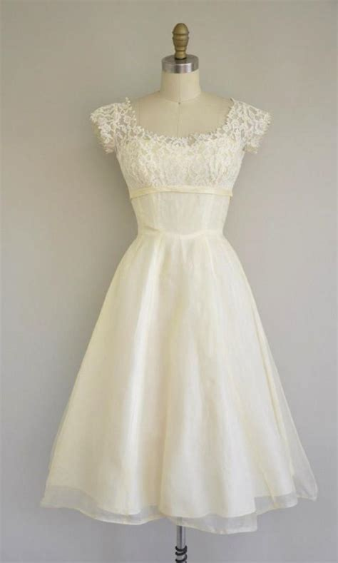 1950s wedding dress 1950s lace and chiffon wedding gown vintage 1950s dress 50s tea length lace chiffon dress