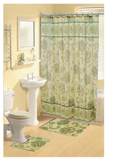 green shower curtain set paisley floral vines green shower curtain bathroom beige