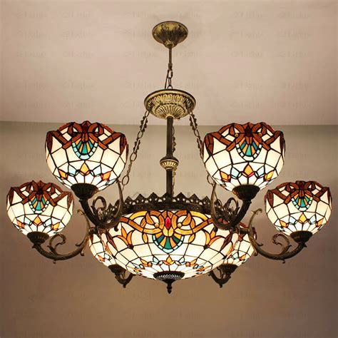 Baroque Ceiling by Decorative 9 Light Stained Glass Shade Tiffany Style