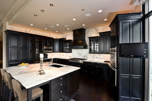 Black Cabinets In Kitchen View Calacatta Gold Marble Countertop