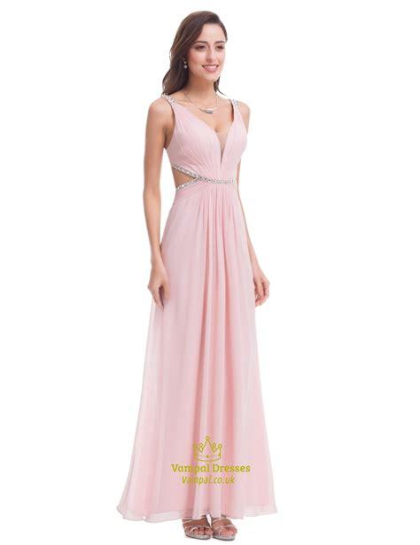 light pink chiffon dress light pink chiffon cut out waist bridesmaid dress with