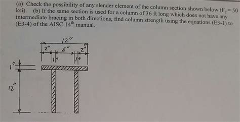 slender section a check the possibility of any slender element o