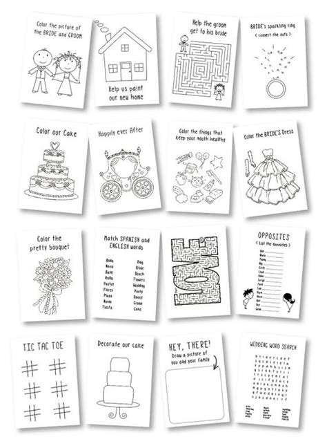 wedding activity book for template wedding coloring book wedding favor wedding