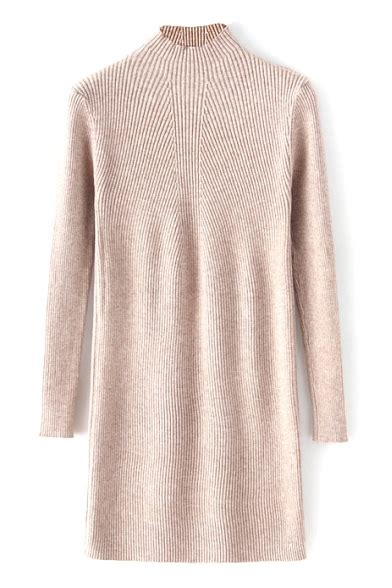 Plain Sleeve Midi Knit Dress high neck sleeve plain midi knit dress