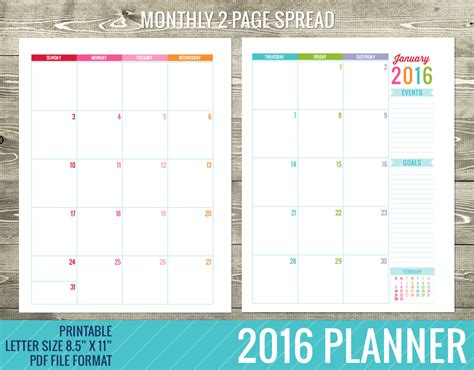printable yearly planning calendar 2016 8 best images of printable planner 2016 2016 calendar