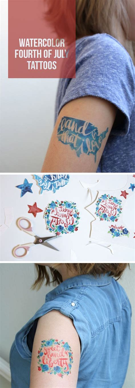 create your own temporary tattoo make watercolor fourth of july temporary tattoos