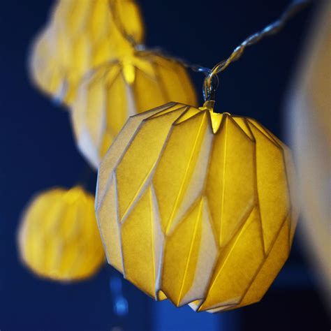 led paper lantern string lights 10 led white shaped origami paper lantern string