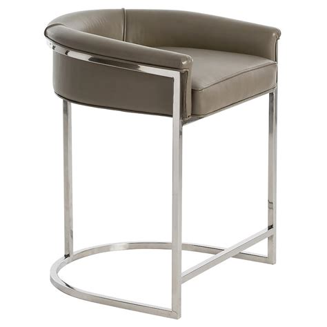 Grey Leather Bar Stool Calvin Modern Grey Leather Low Silver Counter Stool Kathy Kuo Home