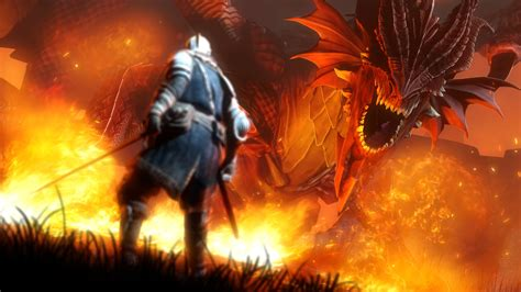 wallpaper video games fire dragon dark souls flame