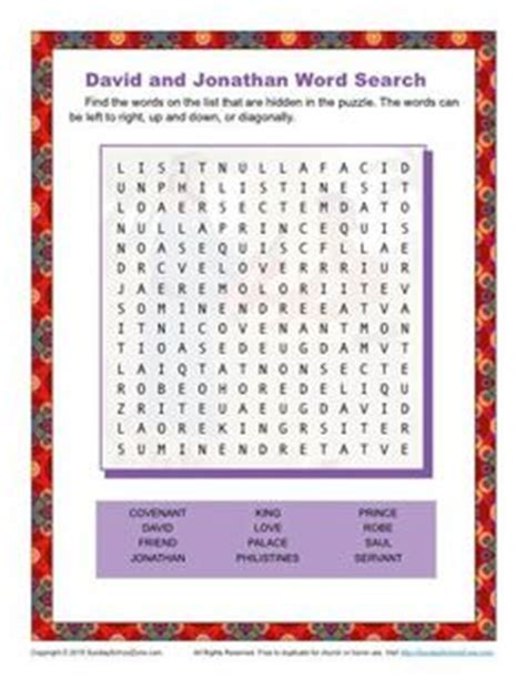 printable word search about friendship david and jonathan bible activities on pinterest david
