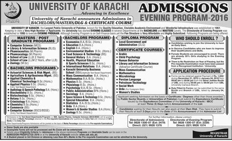 Mba Evening Program In Iqra Karachi by Of Karachi Uok Evening Program Admissions 2017 Form