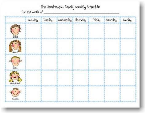 weekly schedule notepads school kids