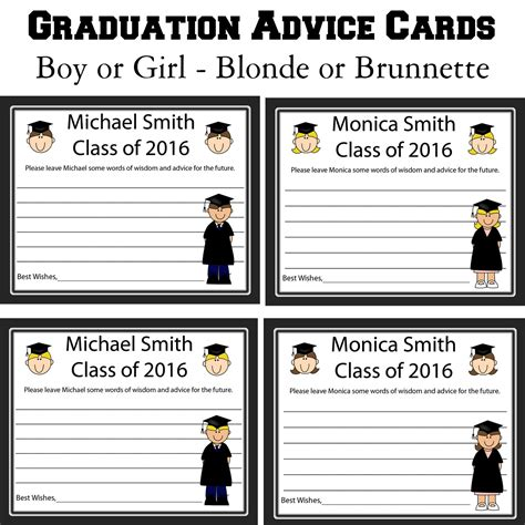 Word Graduation Advice Card Template by 24 Personalized Graduation Advice Cards Words Of Wisdom