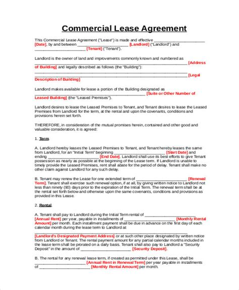 business lease agreement 9 business lease agreement sles sle templates