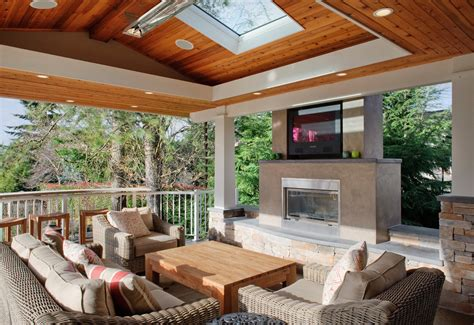Blue Kitchen Backsplash outdoor fireplace with tv porch contemporary with ceiling