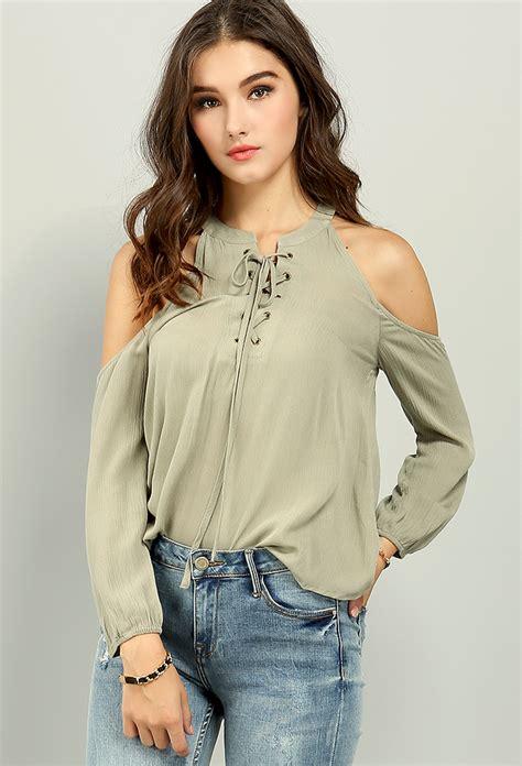 Blouse 3 Tone Sweater 3 Warna open shoulder lace up blouse shop tops at papaya clothing