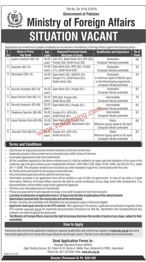 Mofa Jobs by Ministry Of Foreign Affairs Islamabad Jobs 2016 Mofa