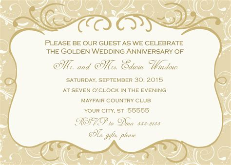 50th wedding anniversary invitations templates free wedding anniversary invitations afoodaffair me
