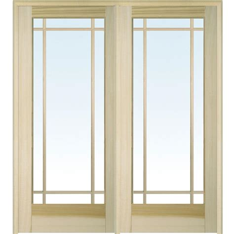 Interior Glass Doors Mmi Door 62 In X 81 75 In Classic Clear Glass Lite Unfinished Poplar Wood Interior