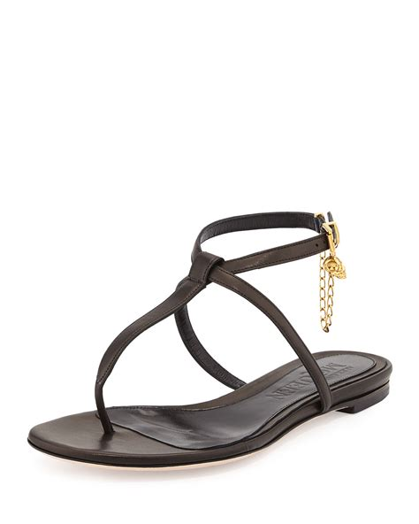 ankle sandals flat mcqueen ankle wrap flat sandal in black lyst