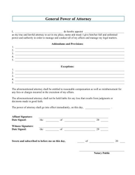 general power of attorney template free power of attorney form to print out