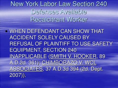 Ppt New Developments In New York Labor Law Sections 200