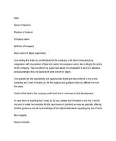 Exle Letter Of Resignation Professional by Sle Resignation Letter 7 Exles In Word Pdf