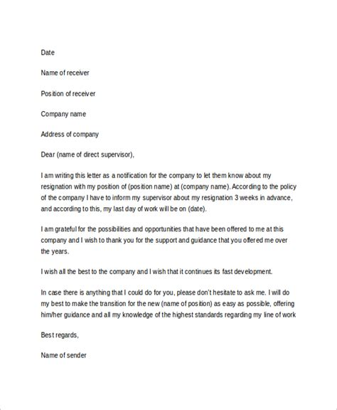 Resignation Letter Template Doc File Sle Resignation Letter 7 Exles In Word Pdf