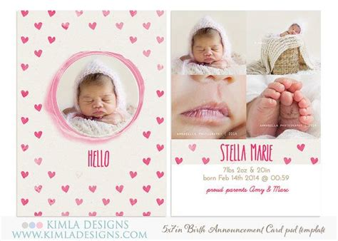 baby card templates psd 5x7in birth announcement flat card psd template by