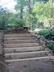 landscaping stairs how to make hillside railroad tie landscape stairs railroad tie steps 171 afterhood yard ideas