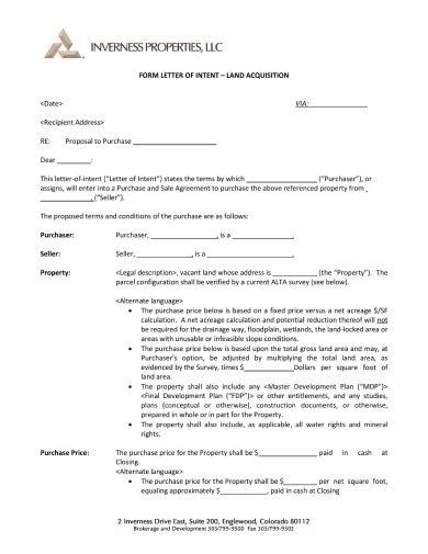 letter intent purchase land examples