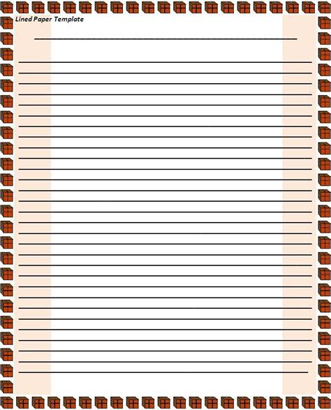 Lined Paper Template Free Word Templates Paper Template With Border