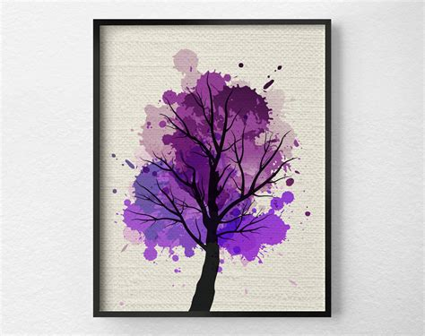purple printable wall art tree wall art modern home decor fine art print modern art