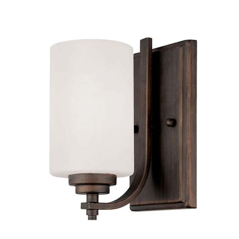 Home Depot Wall Sconces Millennium Lighting Rubbed Bronze Wall Sconce With Etched