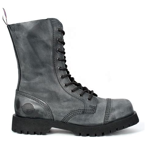 Forgoes Black And Grey For Once by Gray Leather 10 Eye Combat Boots 10 Eye Boots