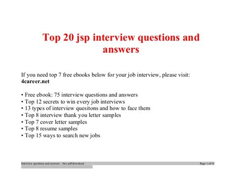 jsp tutorial questions top jsp interview questions and answers job interview tips