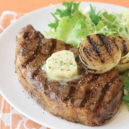 grilled rib eye steaks  miso butter recipe myrecipes