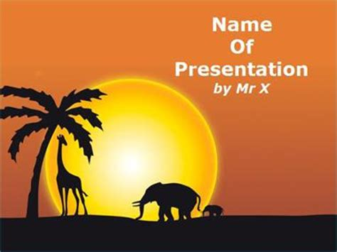 Sunset In Africa Powerpoint Presentation Template Africa Powerpoint Template