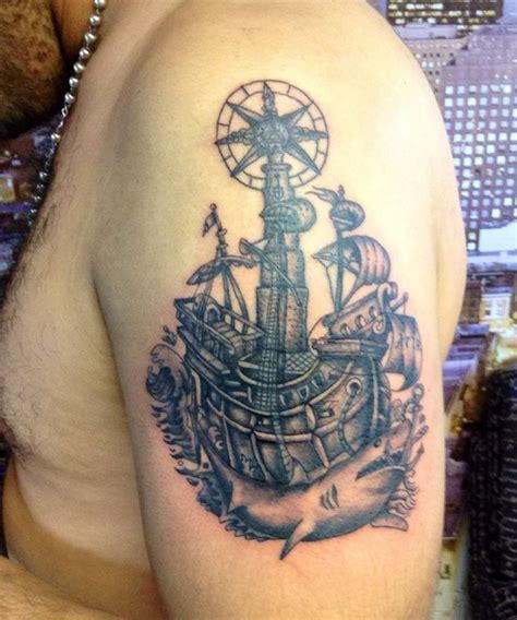 tattoo black and grey new school old school black and grey ship tattoo ink asylum tattoo