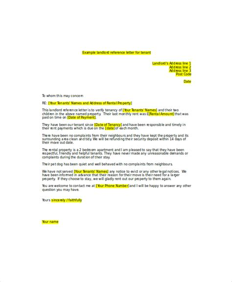 Reference Letter From Landlord Uk 6 Sle Landlord Recommendation Letter Free Sle