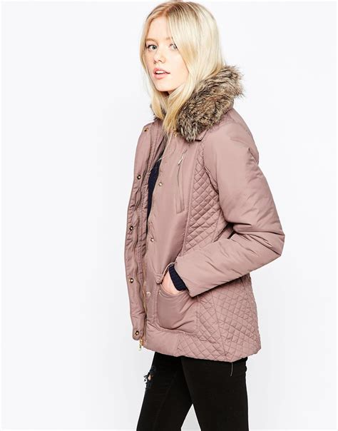 Quilted Fur Jacket by Brave Soul Quilted Faux Fur Collar Jacket In Pink