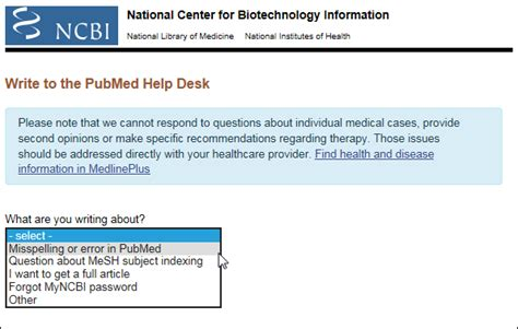 quot write to the pubmed help desk quot customer service form
