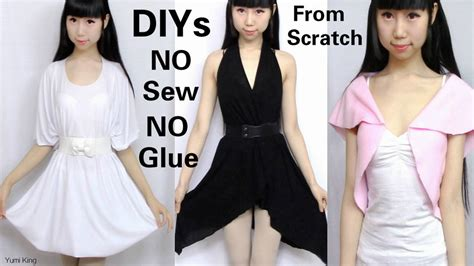 design clothes from scratch diy no sew no glue dresses and top from scratch by