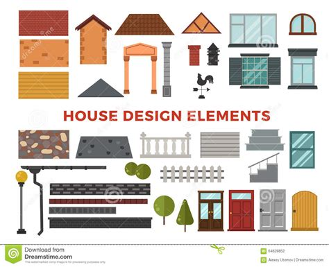 elements of home design family house vector design stock vector image 64628852